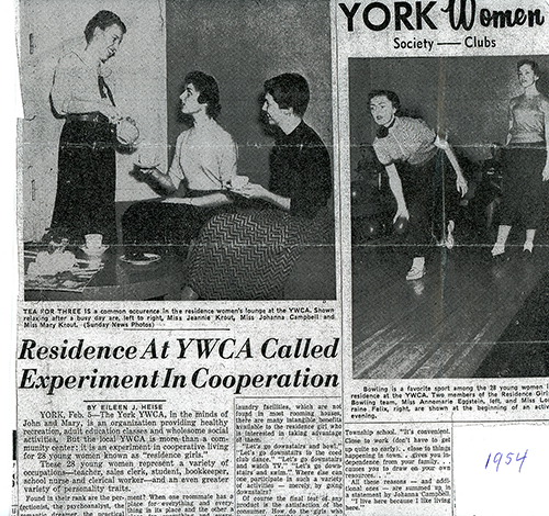 Annemarie Baker of West York shared a clipping from 1954 about the YWCA's residence halls.